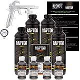 U-POL Raptor Charcoal Metallic Urethane Spray-On Truck Bed Liner Kit w/ FREE Custom Shop Spray Gun with Regulator, 4 Liters