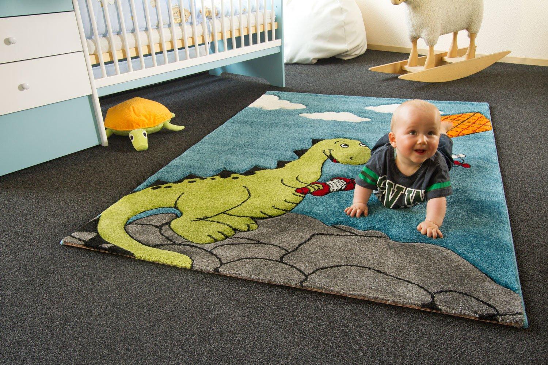 Kinder Teppich Drache Henri türkis – Little Carpet Kollektion – Öko-Tex zertifiziert, Größe: 133×190 cm online kaufen