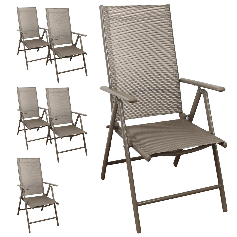 6 Stück Aluminium Hochlehner Gartenstühle, hochwertige 4x4 Textilenbespannung, 8-fach verstellbar, klappbar, Champagner - Gartenstuhl Liegestuhl Positionsstuhl Klappstuhl Gartenmöbel Terrassenmöbel Balkonmöbel