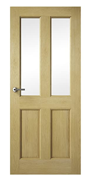 Premdor 82227 826 x 2040 x 40 mm 2 Light Glazed Fully Finished Interior Door - Oak
