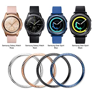 ANCOOL Bezel Ring Compatible Samsung Galaxy Watch 42mm/Gear Sport Adhesive Cover Anti Scratch Stainless Steel Protection Design for Galaxy Watch Accessory-2 Pack (Color: Q-20, Tamaño: 42mm)