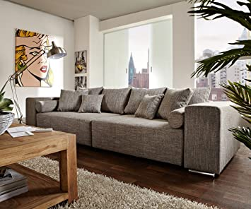 Couch Marbeya Hellgrau 290x110 cm mit Schlaffunktion Big-Sofa