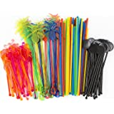 Bar Caddy Supplies (120 Pack) – Assorted Swizzle Sticks/Drink Stirrers (24 of Each Design) – Disposable Flexible Drinking Straws in 2 Sizes – Small Bar Party Supply Refill Pack for Bar Organizer (Color: Mix, Tamaño: Refill Mix)