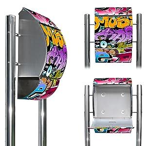 Edelstahl Standbriefkasten mit Fuß und Motiv Graffiti   Überprüfung und weitere Informationen