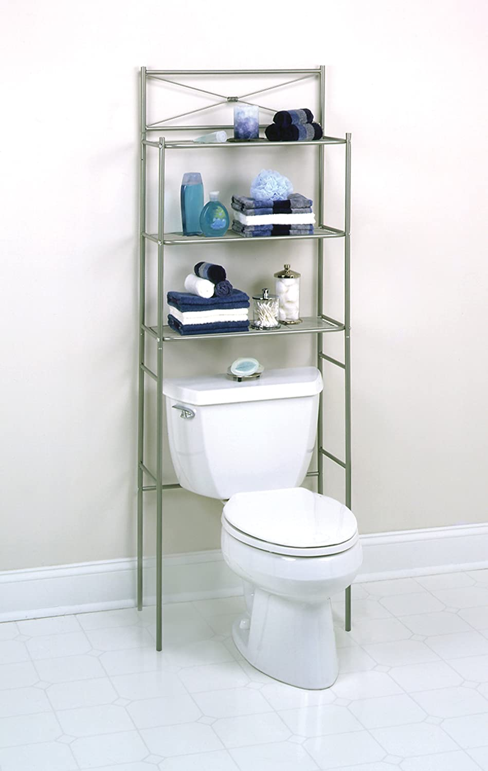 zenith bathstyles spacesaver bathroom storage over the toilet shelf pearl nickel ebay