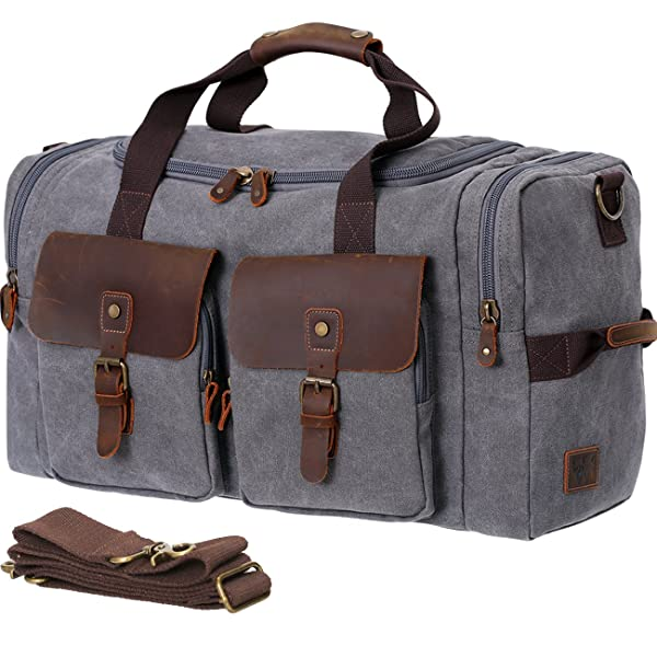 40399f5899e2 WOWBOX Duffle Bag Weekender Bag for Men and Women Genuine Leather Canvas  Travel Overnight Carry on Bag with Shoes Compartment ...