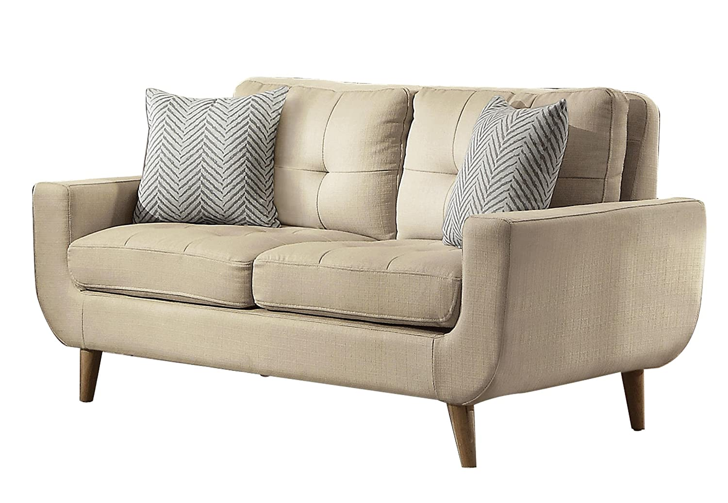 Homelegance Deryn Mid-Century Modern Loveseat with Tufted Back and Two Herringbone Throw Pillows - Beige