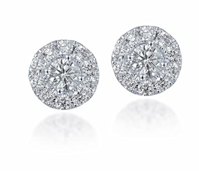 Diamond Studs Forever - 3/4 Ctw Diamond Halo Earrings IGI USA Certified Screw Backs GH/I1 14K White Gold