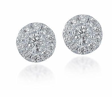 Diamond Studs Forever - 3/4 Ctw Diamond Halo Earrings IGI USA Certified Screw Backs GH/I1 14K White Gold
