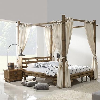 Himmelbett JIMBARAN Liegefläche 180 x 200 Natur Holz | Bett mit Himmel