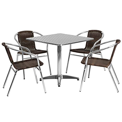 Flash Furniture Square Aluminum Indoor Outdoor Table with 4 Rattan Chairs, 31.5''