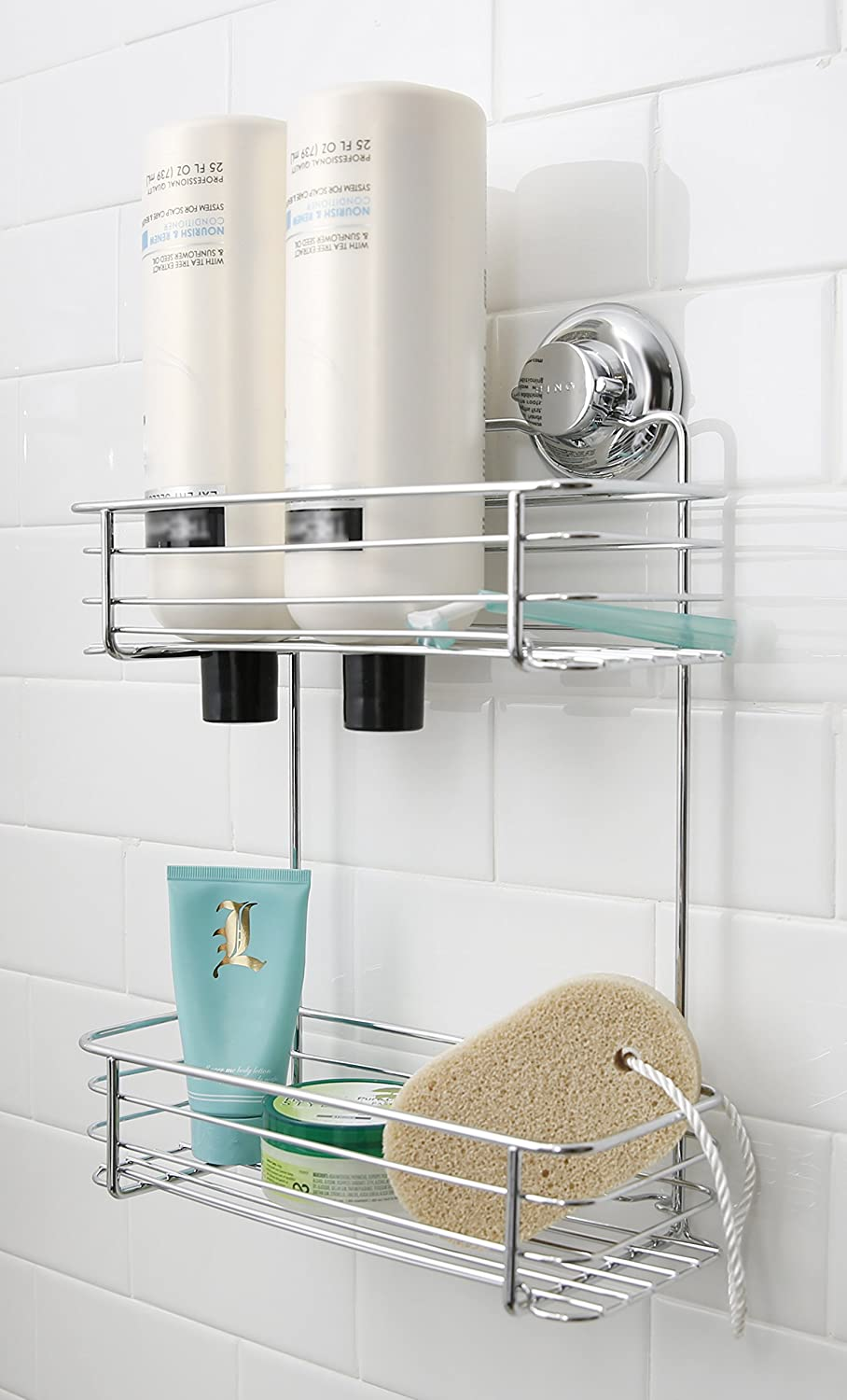 Wall Mounted Shelf For Bathroom With Adjustable Shower