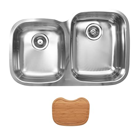 Ukinox D376.60.40.10R.C Modern Undermount Double Bowl Stainless Steel Kitchen Sink with Cutting Boards