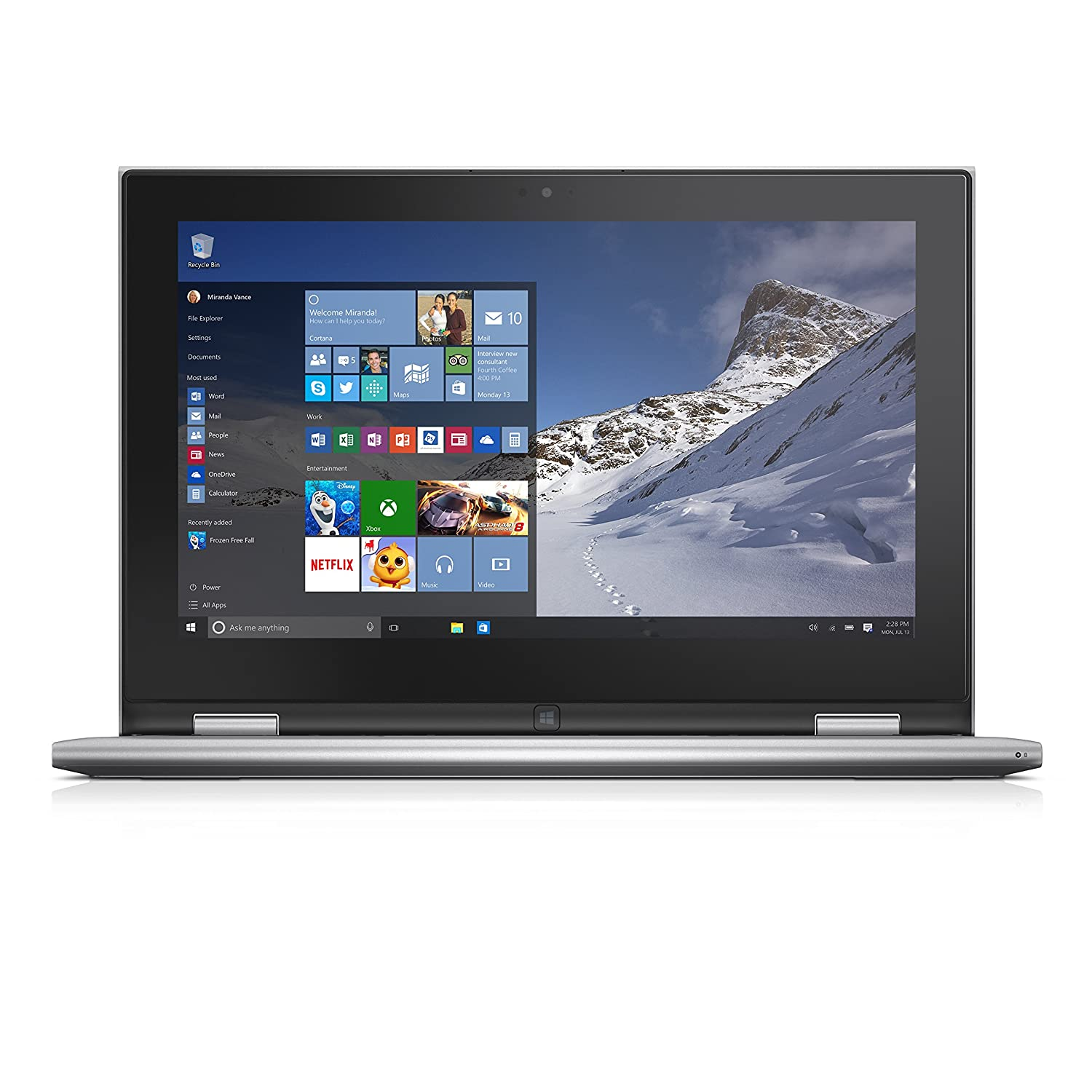 Dell Inspiron i3000-10099SLV 11.6 Inch Touchscreen 2-in-1 Laptop (Intel Pentium, 4 GB RAM, 500 GB HDD, Moonlight Silver)