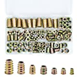 PGMJ 130 Pieces 7 Size M4/M5/M6/M8/M10 Metric Threaded Inserts Nuts Assortment Tool Kit for Wood Furniture Zinc Alloy Furniture Bolt Fastener Connector Hex Socket Screw Inserts (Color: Bronze, Tamaño: Full Size)