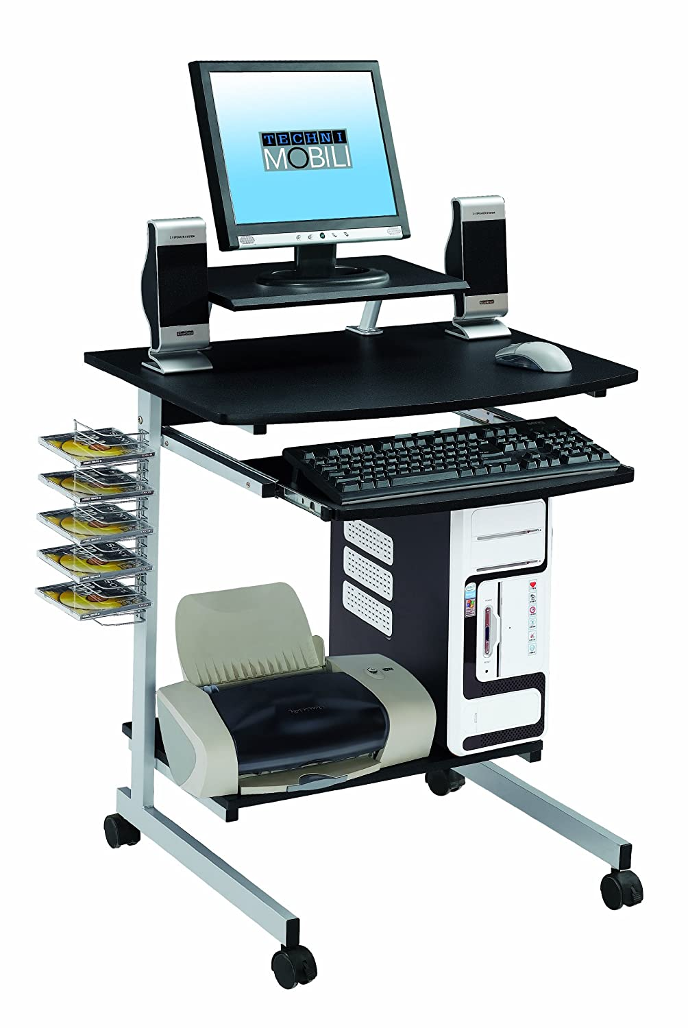 Laptop Computer Desk Table W Dvd Rack Printer Monitor