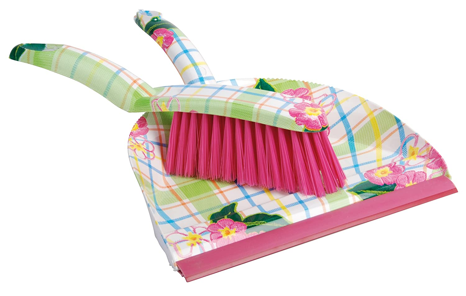 Esschert Design USA Teatowel and Flower Print Dustpan and Brush Set