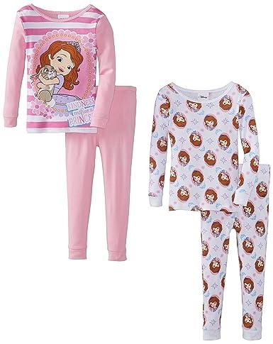 Disney Little Girls' Sofia the First Princess 4-Piece Pajama Set, Multi, 3T