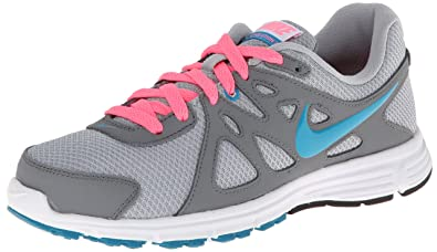 Nike Women's Revolution 2 Wlf Grey/N Trq/Cl Gry/Dgtl Pink Running Shoe 5.5 Women US