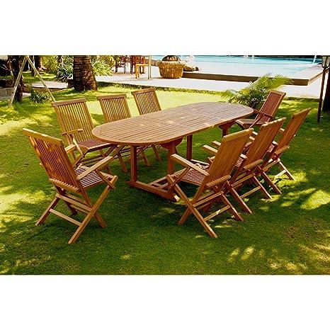 El Morotai 8-Juego DE mesa y sillas DE jardín madera DE teca maciza: bandeja DE tubo 10-12 personas Mesa ovalada con 8 sillas