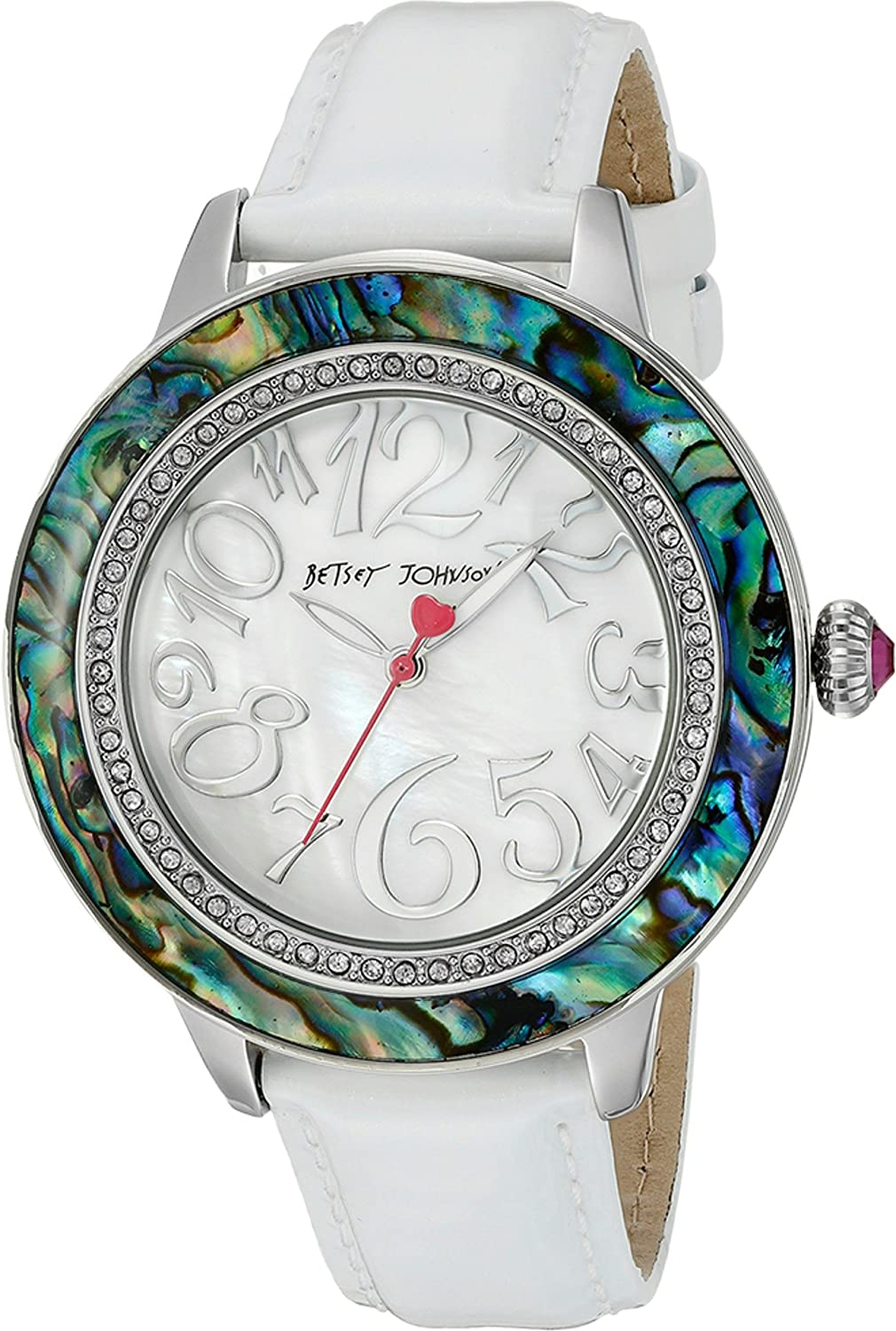 Betsey Johnson Women's BJ00576-01 - White Strap Abalone White/Abalone Watch
