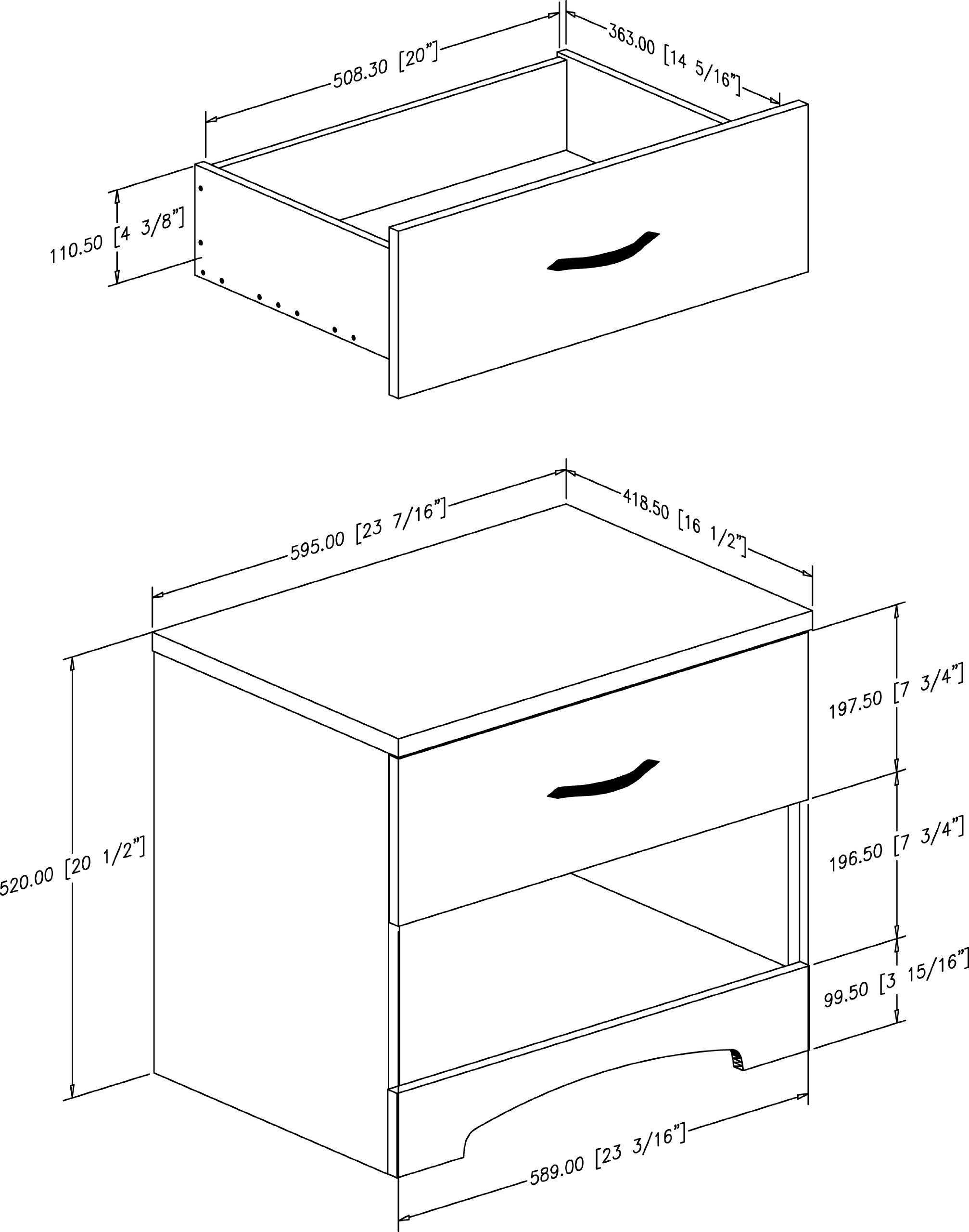 south shore furniture step one collection night stand pure black