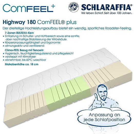 Schlaraffia Highway 180 ComFEEL 7-Zonen Kaltschaum-Matratze H3 (90 x 200cm)