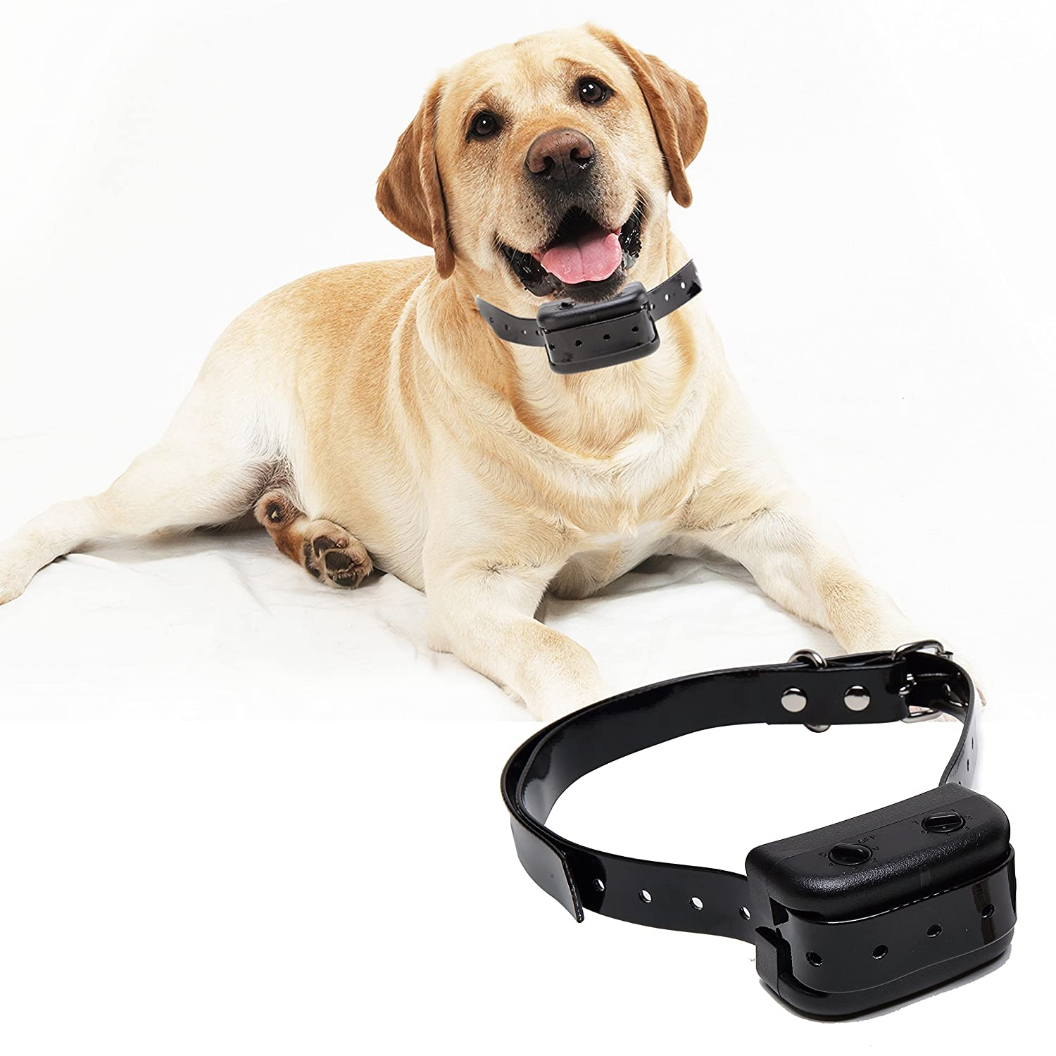 SySrion® No Bark Collar for Bark Control w/ 6 Levels Adjustable Sensitivity Control with Manual - Waterproof & Rechargeable for Small, Medium & Large Dogs - Black