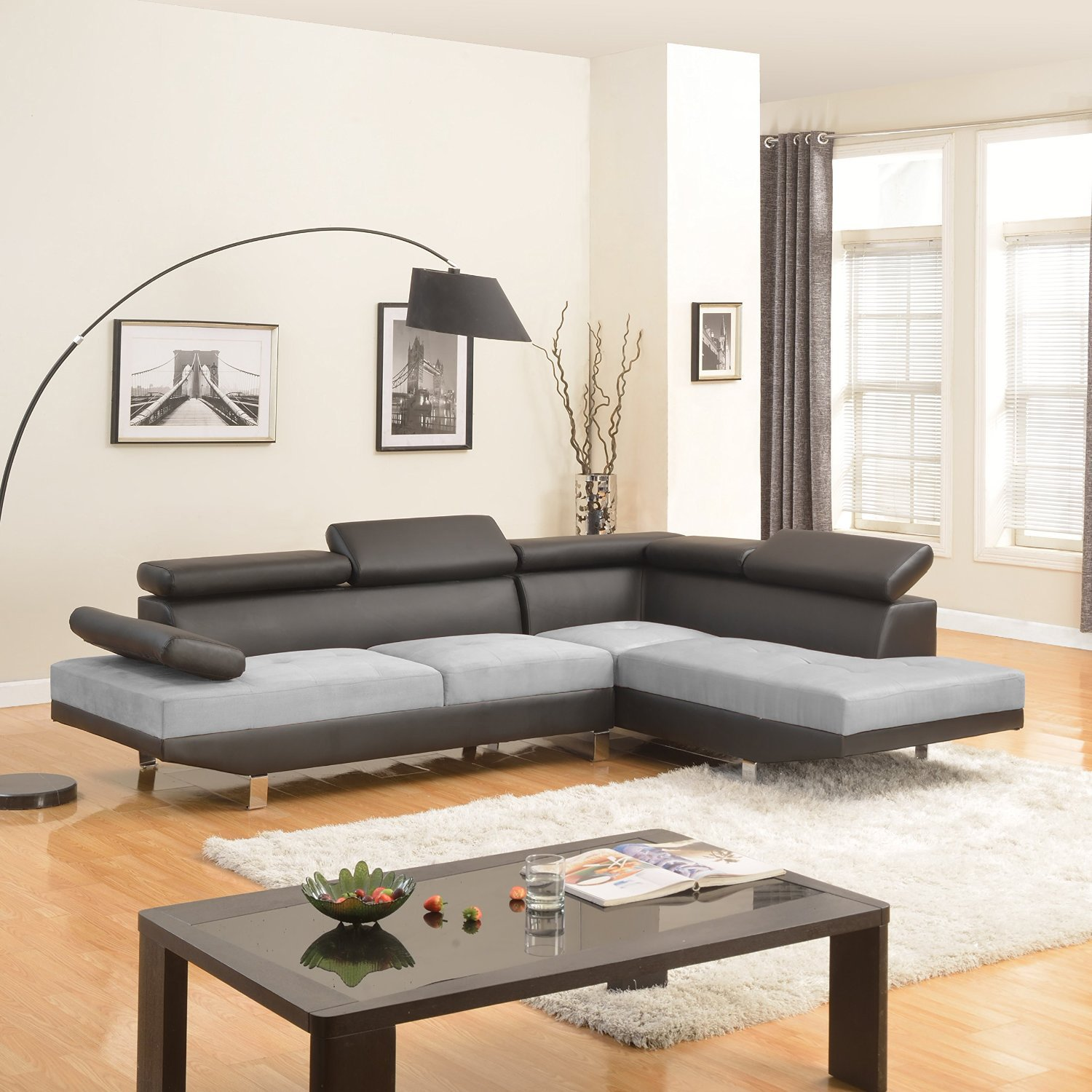Modern Contemporary Designed Two Tone Microfiber and Bonded Leather Sectional Sofa (White/Grey) (Black /Grey)