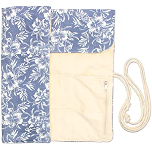 Teamoy Knitting Needles Holder Case(up to 14 Inches), Cotton Canvas Rolling Organizer for Straight and Circular Knitting Needles, Crochet Hooks and Accessories, Blue Flowers - NO Accessories Included (Color: Blue Flowers, Tamaño: 14 inches)