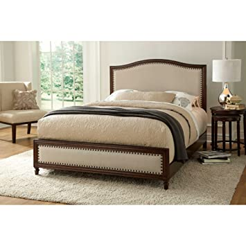Fashion Bed Group Transitional Grandover Complete Bed, Queen, Cream/Espresso