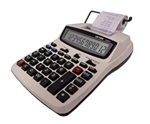 Victor Printing Calculator, 1208-2 Compact and Reliable Adding Machine with 12 Digit LCD Display, Battery or AC Powered, Includes Adapter (Color: White, Tamaño: 2-Pack)