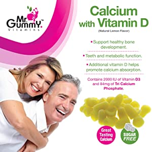 Mr Gummy Vitamins Sugar Free Calcium with Vitamin D Supplement