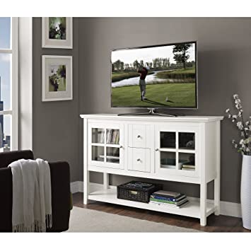 "WE Furniture Wood Console Table TV Stand, 52"", White"