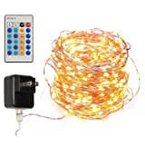 Dimmable Led String Lights Copper Wire 40ft 120LED Starry Light with UL certified Power Adapter For Wedding Party, Christmas Centerpiece, Garland, Wreath, indoors or outdoors