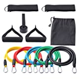 Ketia 11 Pcs Tube Resistance Bands Set,Door Anchor Attachment, Foam Handle, Ankle Straps and Carry Bag, Exercise Tube Bands for Body Shaping, Training, Physical Therapy- 100% Life Time Guarantee