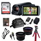 Canon Vixia HF R82 Wi-Fi 1080p HD Video Camera Camcorder + 32GB Card + Battery & Charger + Canon Camera Case + Spider Tripod + 2 Lens Kit
