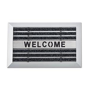 casa pura® Fußmatte ULTRA mit Willkommensgruß | wasserabweisende Teppicheinlage + Aluminiumrahmen | Anthrazit | 40 x 60 cm  BaumarktKundenbewertungen