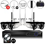 CamView 4CH 720P Wireless Security CCTV Surveillance System WiFi NVR Kits, 4CH 1080P NVR 4PCS 1.0MP Wireless WiFi Indoor/Outdoor IP Cameras, Audio Plug, P2P, 65FT Night Vision, 1TB HDD Pre-installed
