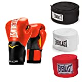 Everlast Boxing Gloves Size 14 Ounces, Red and 120 Inch Hand Wraps (3 Pack) (Color: Red, Tamaño: 14 ounces)