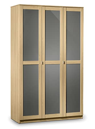 Julian Bowen Strada 3-Door Wardrobe, Light Oak/Grey