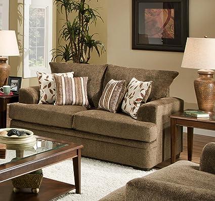 Chelsea Home Furniture Calexico Loveseat, Cornell Cocoa/Azure Platinum Pillows