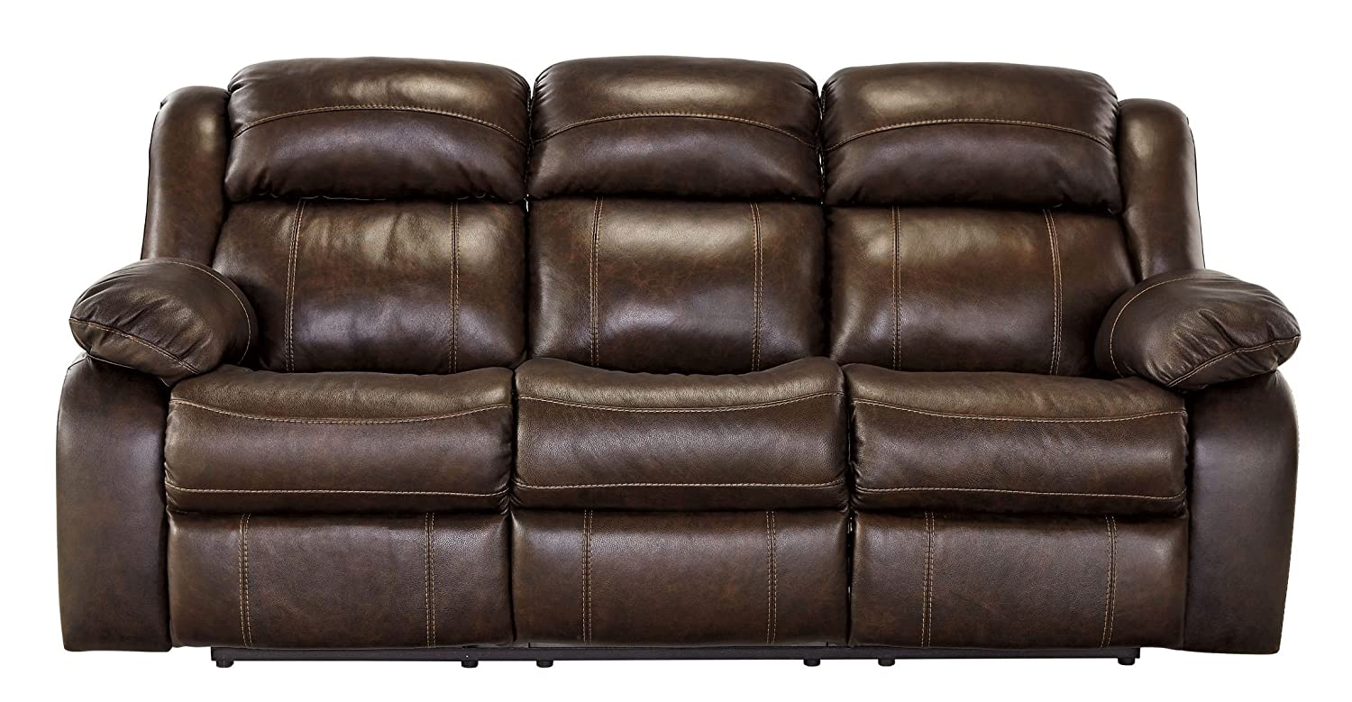 Ashley Branton Leather Reclining Sofa in Antique
