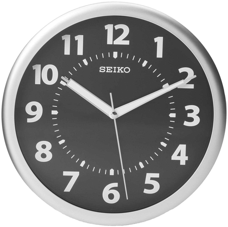 Silver seiko quartz wall clock glow in dark luminous for Seiko quartz wall clock