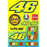 TopBikeDecals Valentino Rossi Decals Stickers VR 46 The Doctor Motorcycle Vinyl Graphic Set (Color: Yellow)
