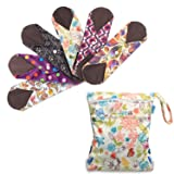 Teamoy 6Pcs 10 Inches Sanitary pad, Reusable Washable Cloth Menstrual Pads/Panty Liners with Wet Bag, Super-Absorbent, Soft and Comfortable, Perfect for General Flow(Medium, Mixed Pattern) (Color: Mixed Pattern, Tamaño: Medium-10'')