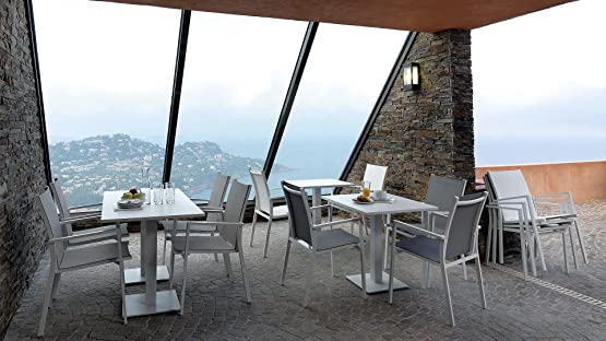 Montefioredesign - Tavolo Per Esterno Alluminio Bianco 120X80 Maiorca