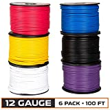 12 Gauge Primary Wire - 6 Roll Assortment Pack - 100 Ft of Copper Clad Aluminum Wire per Roll (Color: Set of 6 - Purple, White, Black, Blue, Red, Yellow, Tamaño: 100 ft per roll)