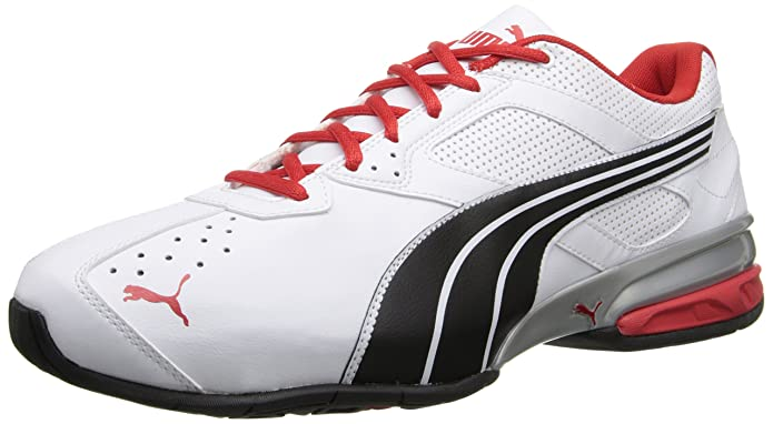 PUMA Men's Tazon 5 Wide Training Shoe,White/Black/High Risk Red,10.5 W US