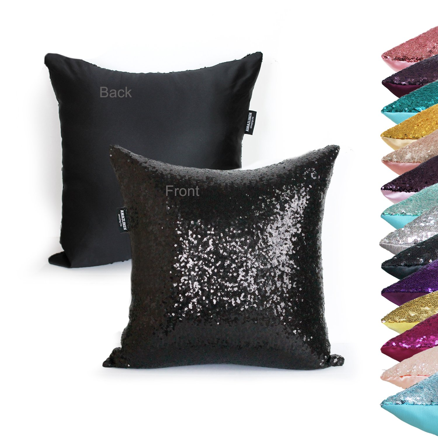 Decorative Pillow Cover Model : AMAZLINEN(TM) Decorative Glitzy Sequin & Comfy Satin Solid Throw Pillow Cover... Chickadee ...